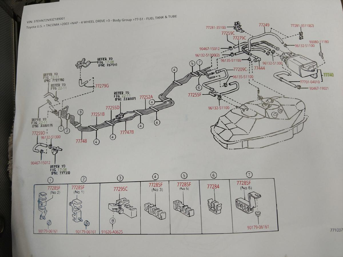 Toyota Tacoma Evaporative Emission Faults Distributor Wiring Diagram I Contacted Parts And Asked Them To Send Me A The Confirmed Steel Line Routing What Our Vehicle Looked Be