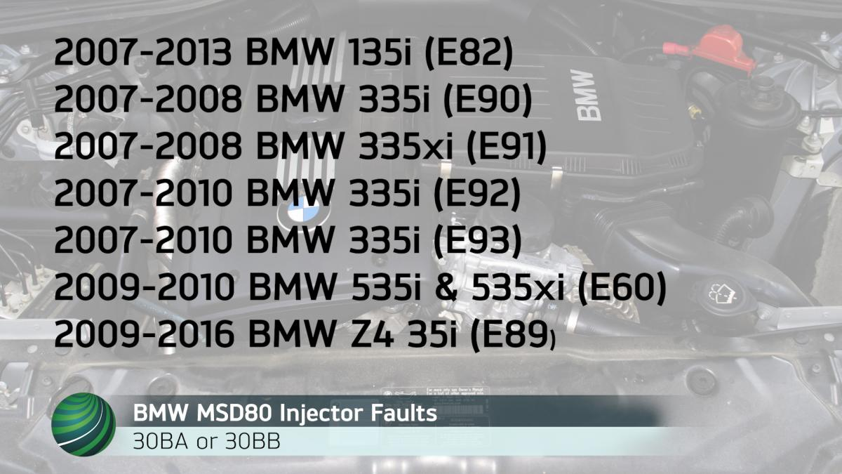 2007 Bmw 335i Wiring Diagram Library 2008 325i Msd80 Fuel Injector Fault Code Diagnosis 30ba 30bb 2001 Models