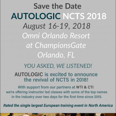 AUTOLOGIC NCTS Training Event is BACK! Aug 16-19, 2018